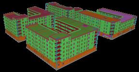 "Ansicht des Gebäudemodells ""Akrens Väg"" in Tekla Structures."