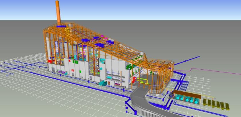 Tekla-3D-Modell der Müllverbennungsanlage Amager Bakke