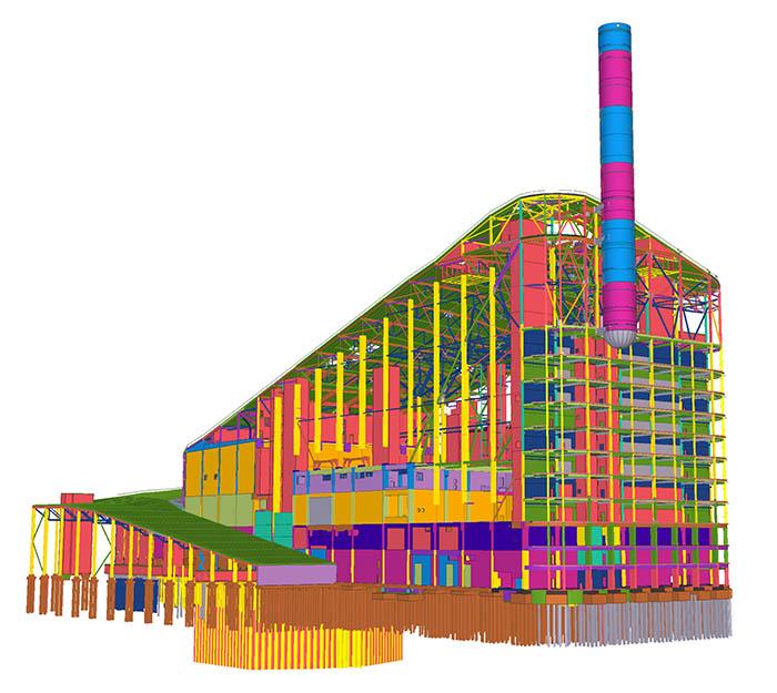 Tekla-Modell der Müllverbrennungsanlage Amager Bakke