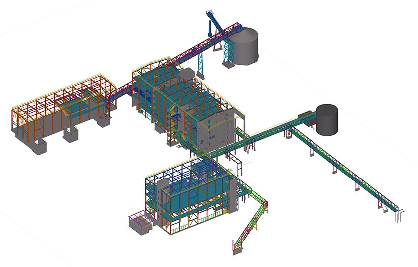 Tekla Structures Modell des Bio-Ölwerks III