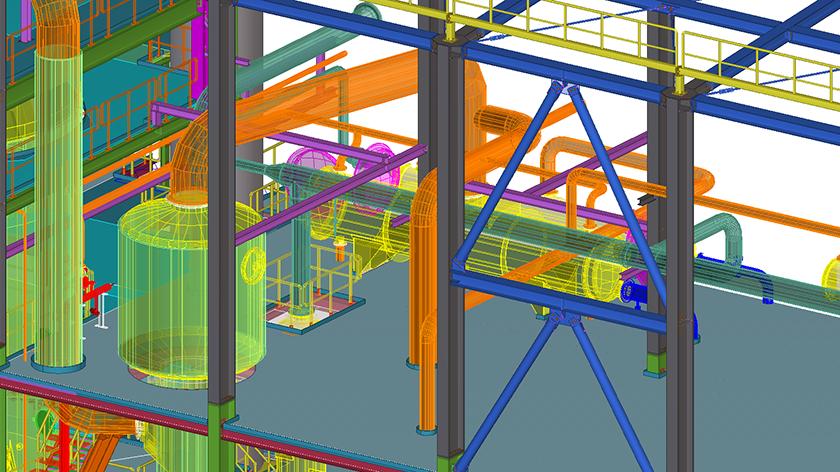 Detailliertes Tekla Structures Modell im Anlagenbau