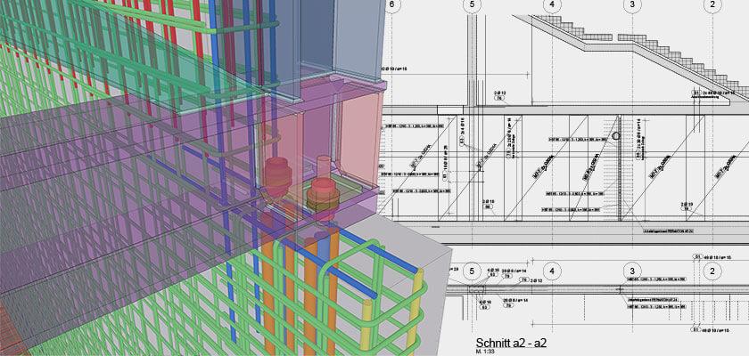Ingenieurbüro 3Ki: Schal- und Bewehrungsplanung in 3D und mit BIM-Software Tekla Structures.