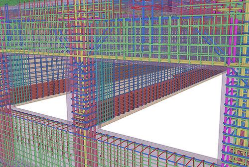 Detail-Ansicht Bewehrung im Tekla-3D-Modell