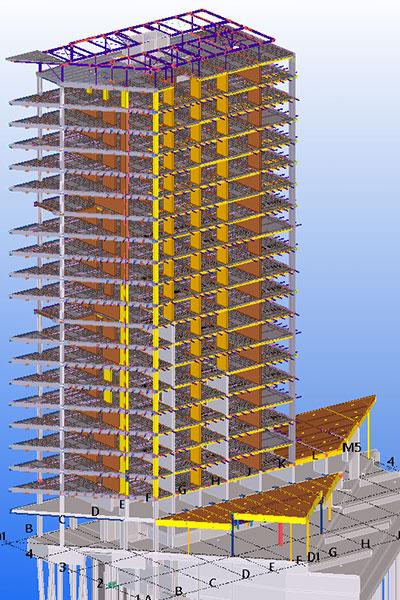 Beim HAUT-Projekt wurden Holz-, Stahl- und Betonfertigteile mit Tekla Structures modelliert.