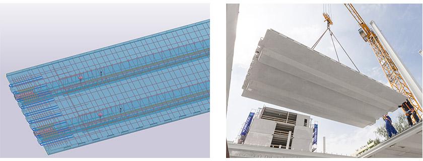 Betonfertigteil-Element einer Rippendecke in Tekla Structures und bei der Montage auf der Baustelle.