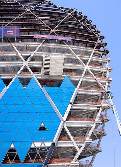 Aldar Headquarters: Detail-Ansicht der Stahlbaukonstruktion