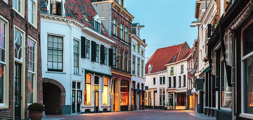 Empty European Street with businesses