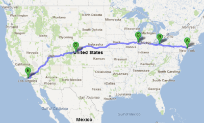 Logical path from New York to Los Angeles