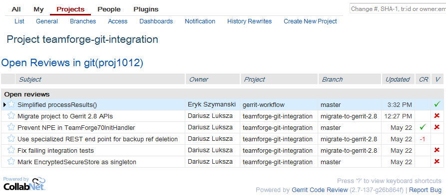 All Open reviews in TeamForge Project Git Integration Development
