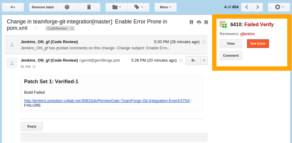 `Gerrit Gmail Plugin - Jenkins Failed