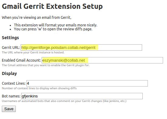 Gerrit Email Plugin - Setup