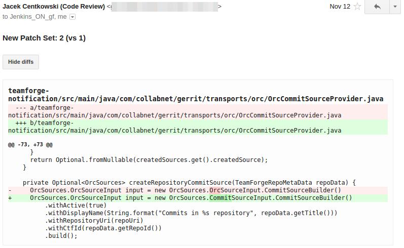 Gerrit Email Plugin - Diff Example