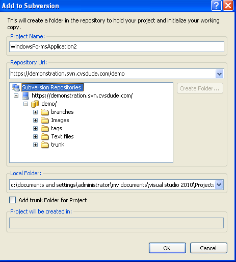 adding Subversion URL MS Visual Studio