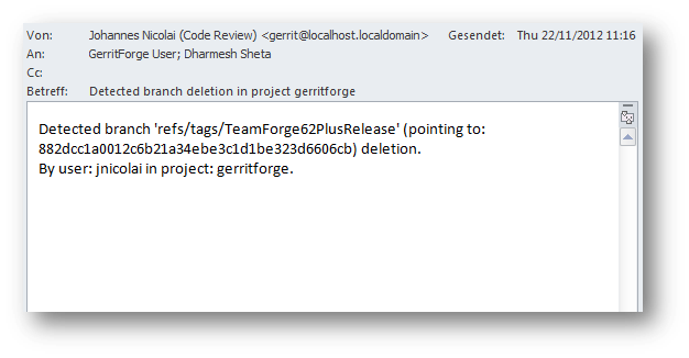 E-mail notification from TeamForge-Git about branch deletion