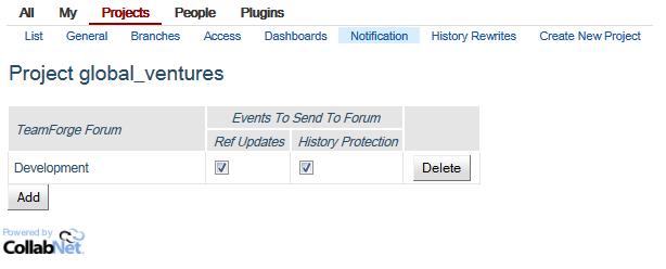 Development forum configured in Gerrit