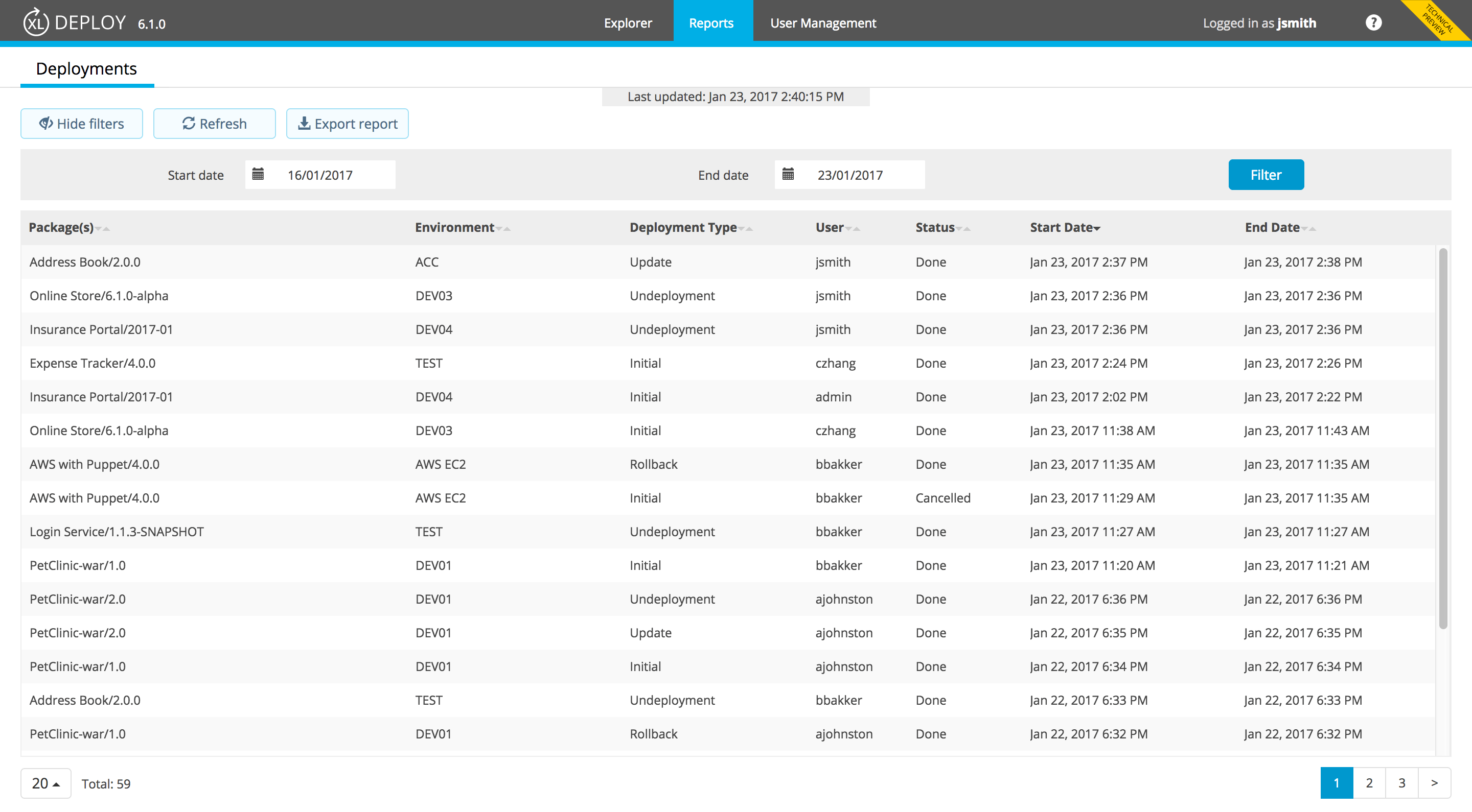 A deployment report in the XL Deploy new HTML5 UI.
