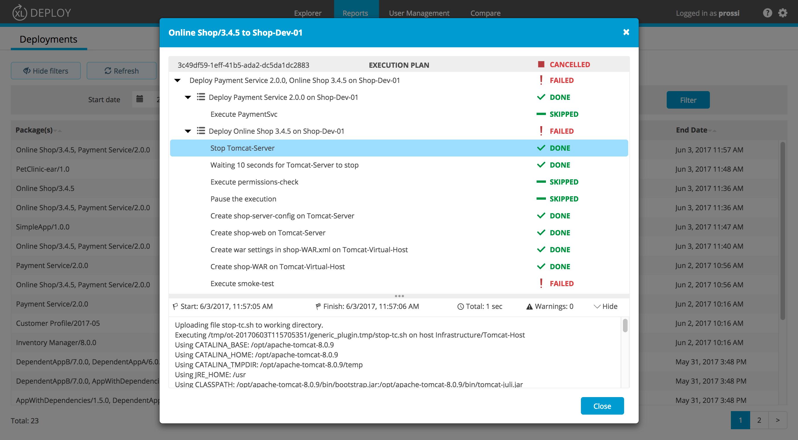 XL Deploy v7.0 Deployment Reports