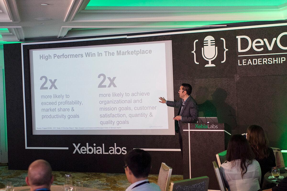 Gene Kim presenting at the XebiaLabs DevOps Leadership Summit