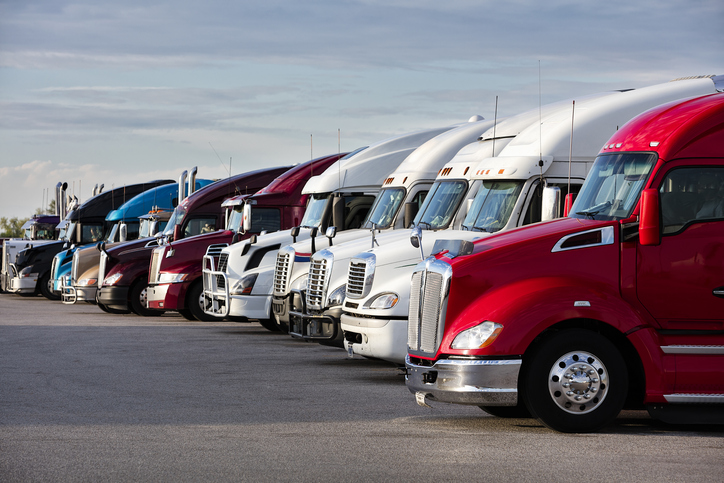 A group of trucks who drivers are impacted by AB5
