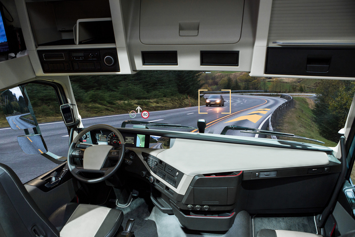 An autonomous truck driving on the road