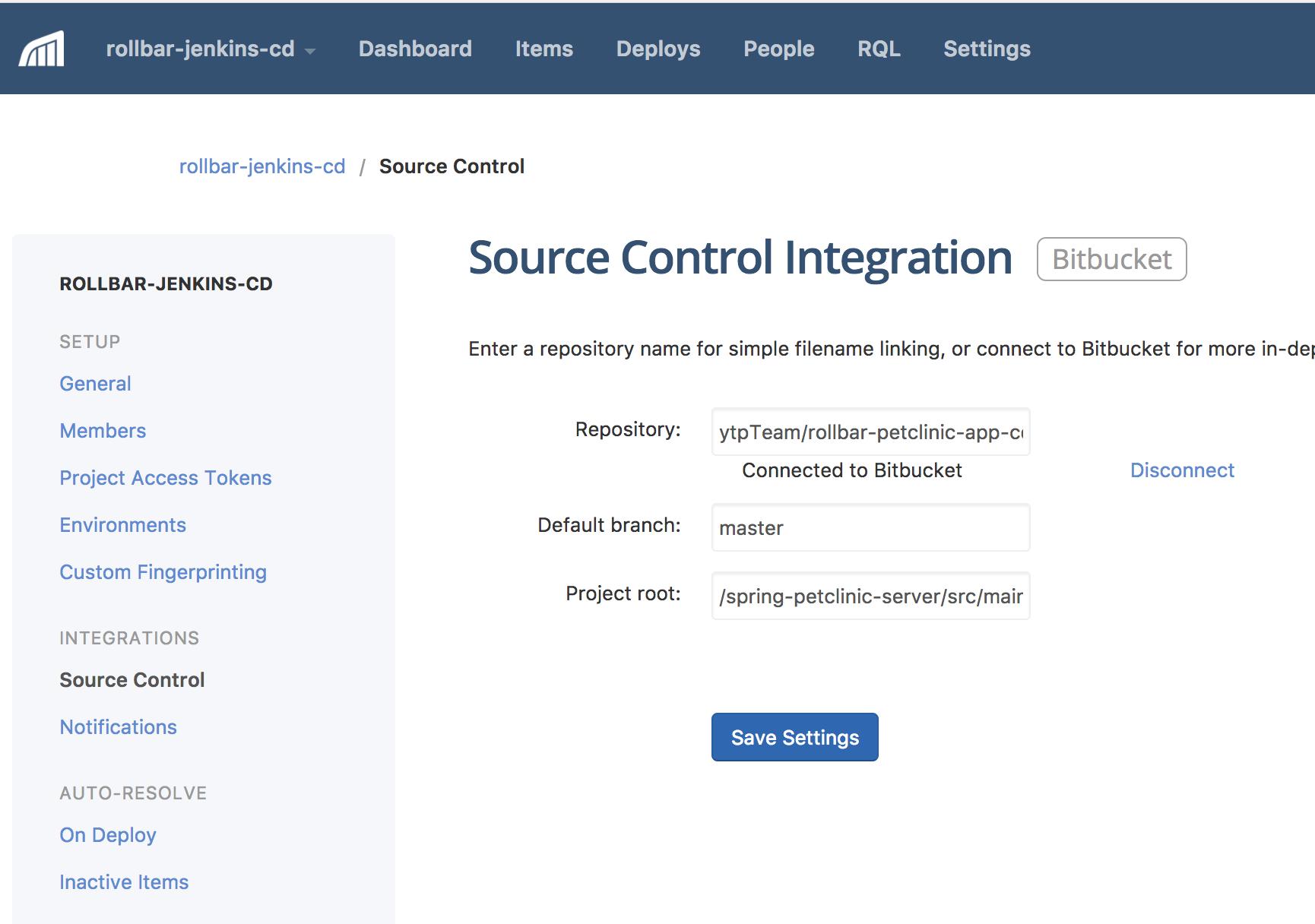 Screenshot of Rollbar source control integration