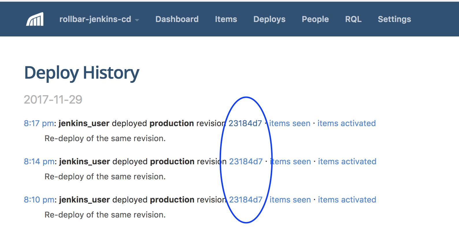 Screenshot of Rollbar jenkin deplyment version history