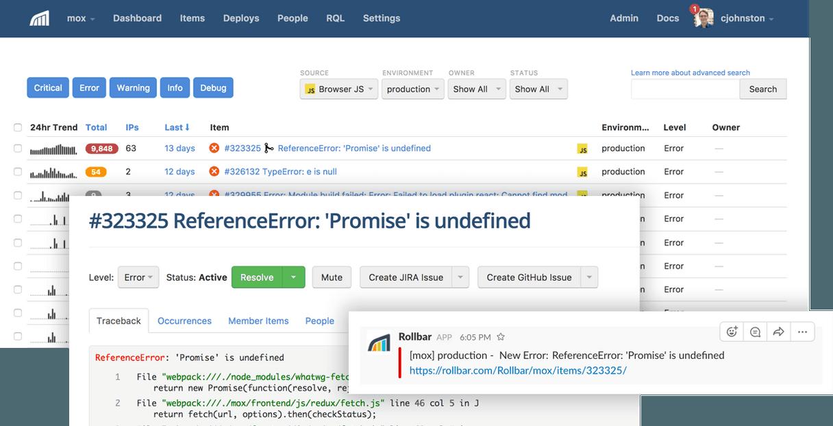 Screenshot of Rollbar dashboard