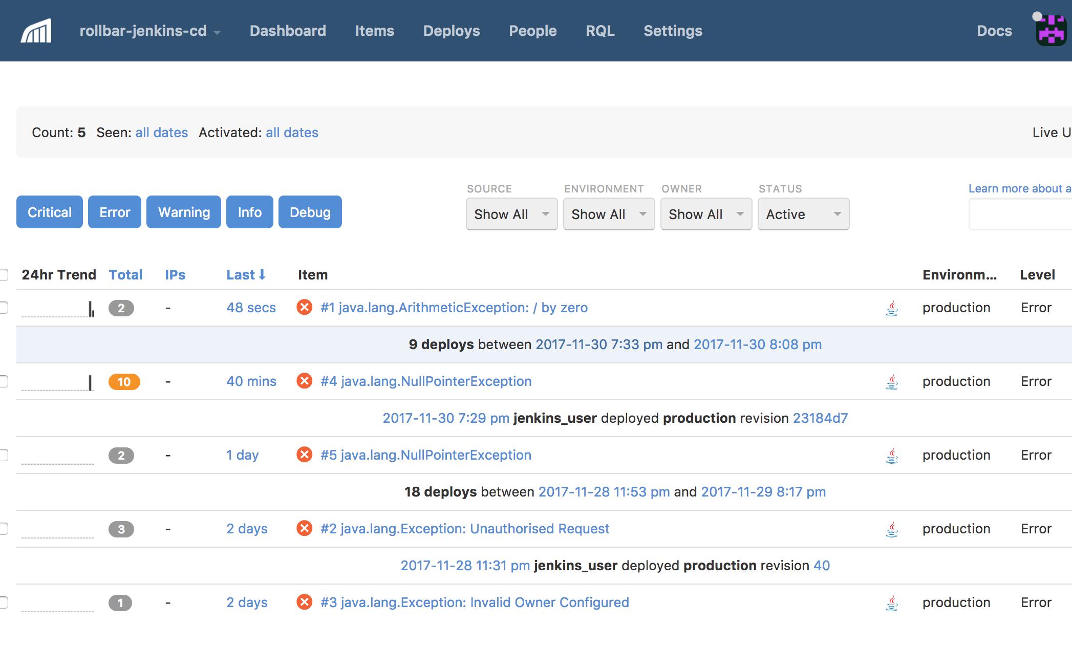 Screenshot of Rollbar error logging dashboard