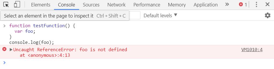 Screenshot of ReferenceError: event is not defined
