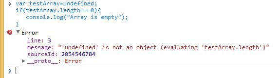 Screenshot of TypeError: 'undefined' is not an object