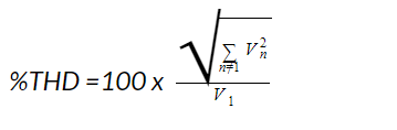 THD Percentage equation with voltage, RMS, and fundamental frequency