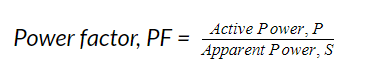 Power factor equation of active over apparent power