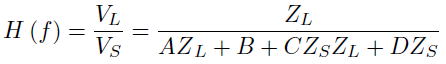 ABCD matrix and transfer function