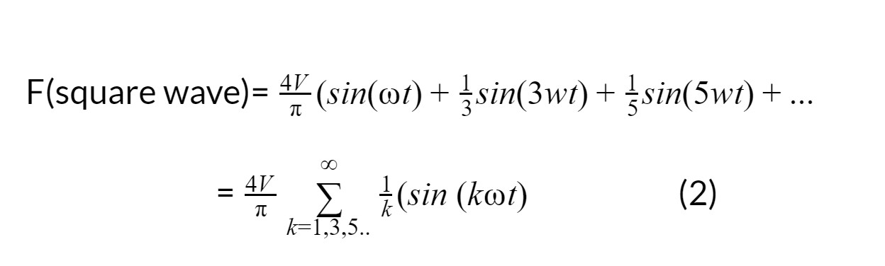 F(square wave)=4V(sin(t)+13sin(3wt)+15sin(5wt)+...  =4Vk=1,3,5..1k(sin (kt)                      (2)