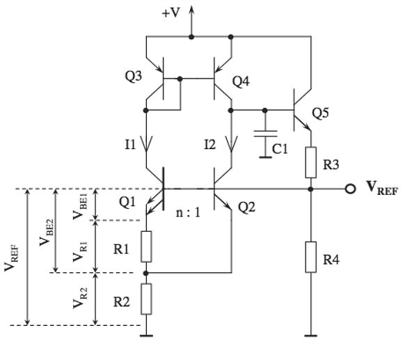 Current mirror in a bandgap voltage reference schematic