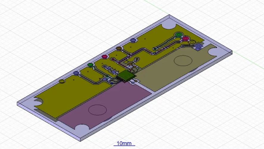 PCB layout rendering used for transient thermal analysis