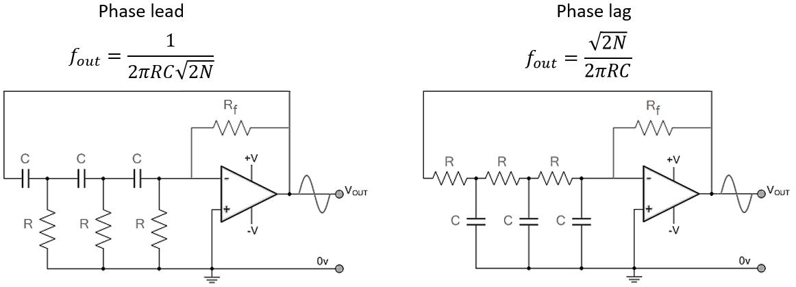 RC phase shift oscillator circuit diagram schematic