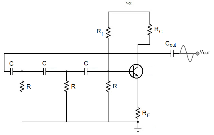 BJT RC phase shift oscillator schematic