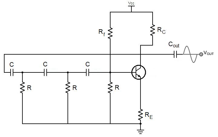 BJT RC phase shift oscillator schematic