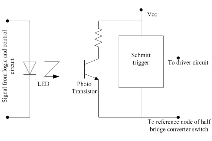 Schematic of optocoupler based driver