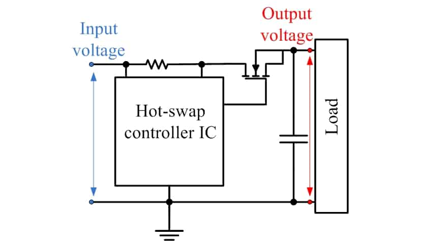 Circuit connection of hot-swap controller IC