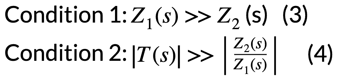Condition 1:Z1(s)>>Z2(s) & Condition 2:T(s)>>Z2(s)Z1(s)