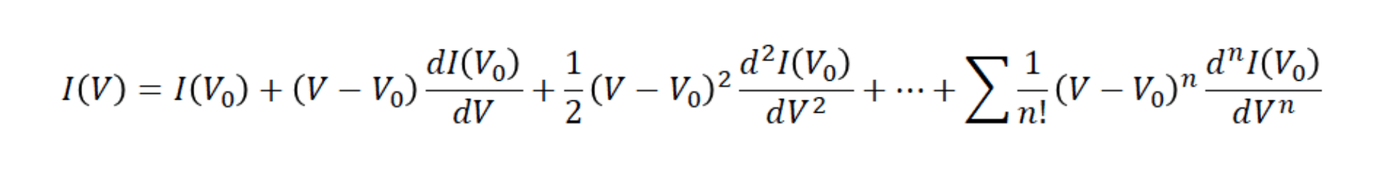 Nonlinear current vs. voltage relationship expanded as a Taylor series