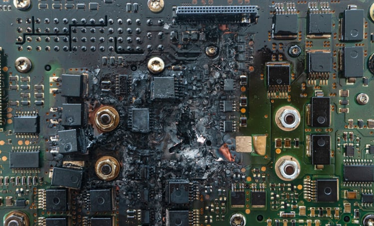 Electronic circuit failure due to heat