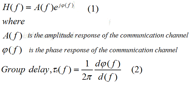 Amplitude and phase response of communication channels