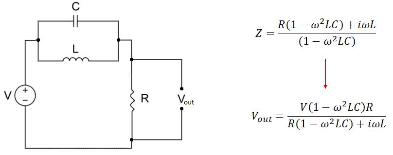 Notch filter parallel RLC circuit