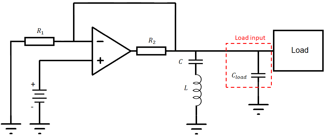 Active band-stop filter with an op-amp