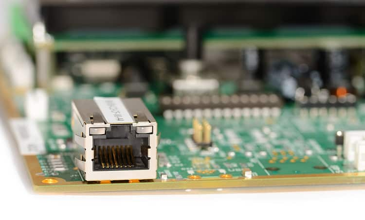 A printed circuit board with an Ethernet port