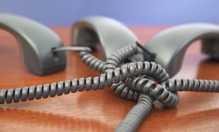 Three telephones