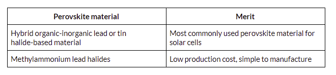 Table showing perovskite solar cell material advantages